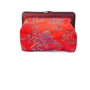 Silk Embroidered Oriental Village Scene Clutch Bag